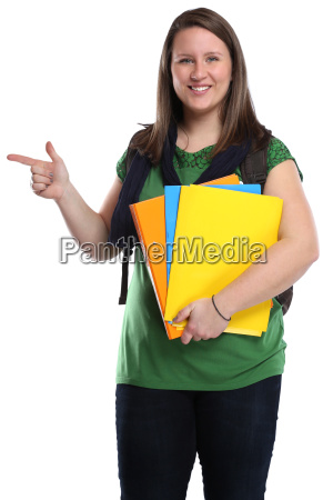 student young woman showing advertising marketing
