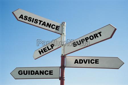 senyal con las palabras ayuda apoyo