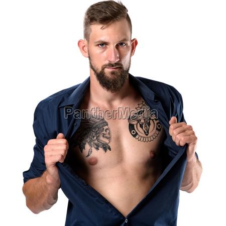 liberado aislado barba con estilo camisa