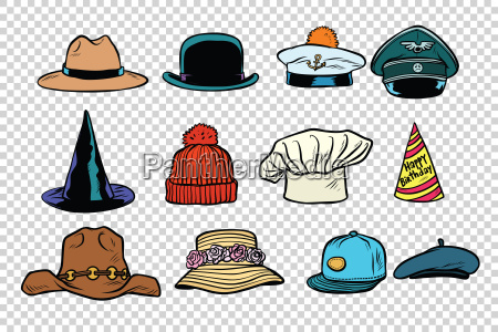 hat set collection on isolated background