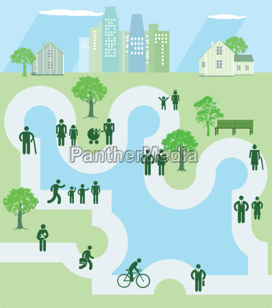 people in a park icon illustration