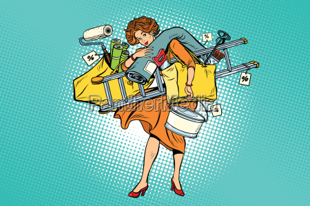 woman with shopping repair tools