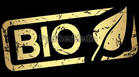 sello dorado con texto bio
