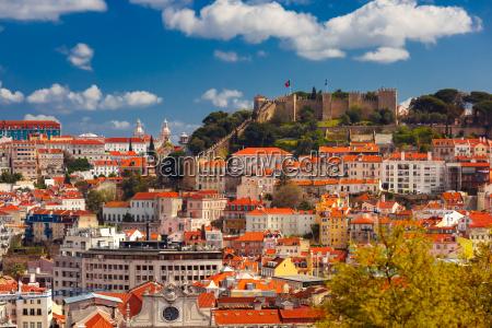 historical centre of lisbon on sunny