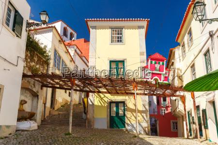 spring typical lisbon street portugal