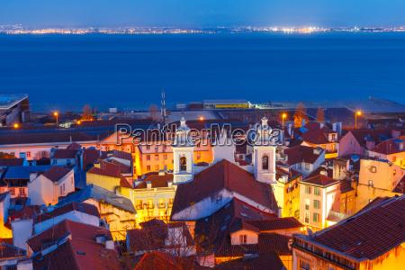 alfama at night lisbon portugal