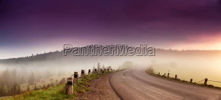 road in mountain range panorama beautiful