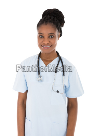 happy african female doctor
