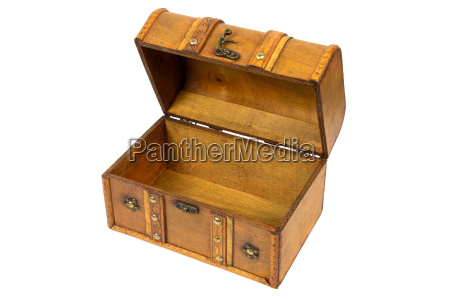 open old wooden chest on white