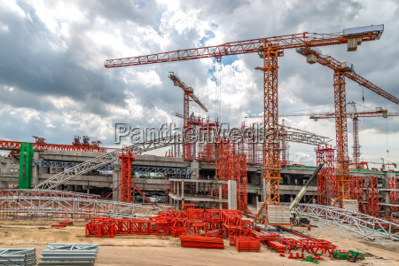 construction cranes on site skytrain in