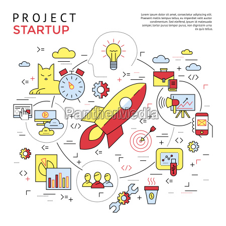 digital vector yellow and red startup