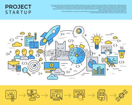 digital vector yellow and blue startup