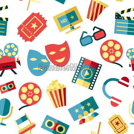 digital vector red white cinema icons