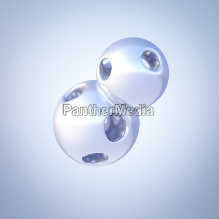 dos esferas conectadas del mercurio representacion