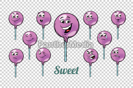 round lollipop candy emotions characters collection