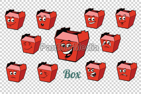 fastfood and candy packing emotions characters