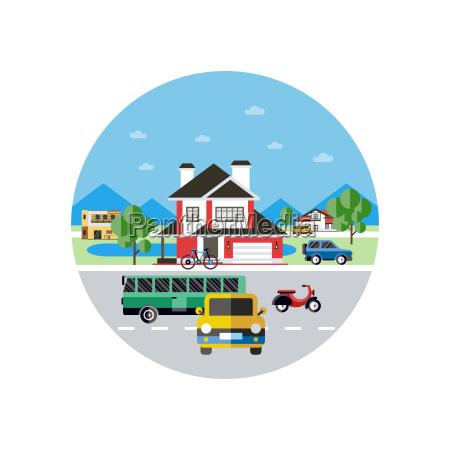 digital vector blue city transport icons
