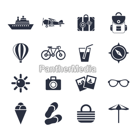 vector digital negro playa iconos de