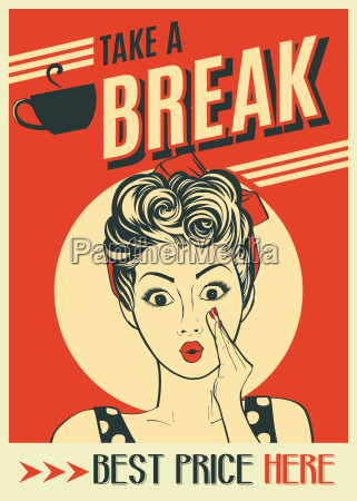 publicidad de cafe retro cartel con