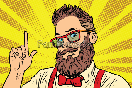 barbudo hipster hombre retrato senyalando dedo
