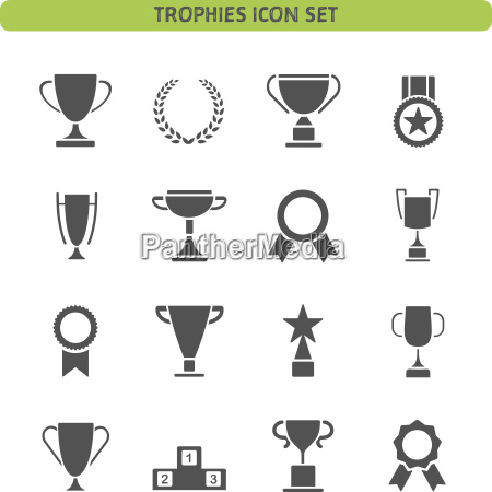 trophy icons set on a white
