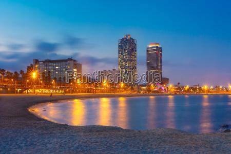 barceloneta beach in barcelona at sunset