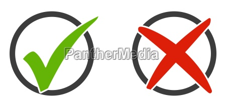 2 iconos marca y x en