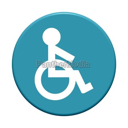round blue button wheelchair