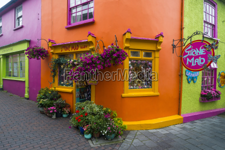 brightly coloured shops in kinsale county