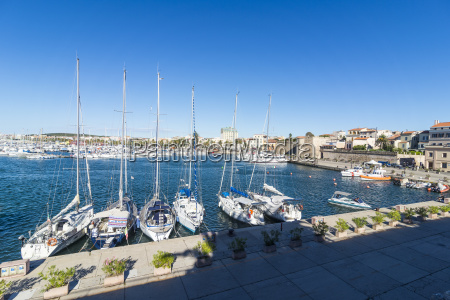 view over the boat harbour of