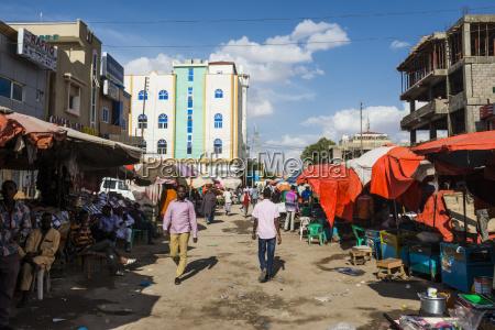 dusty street in hargeisa somaliland somalia