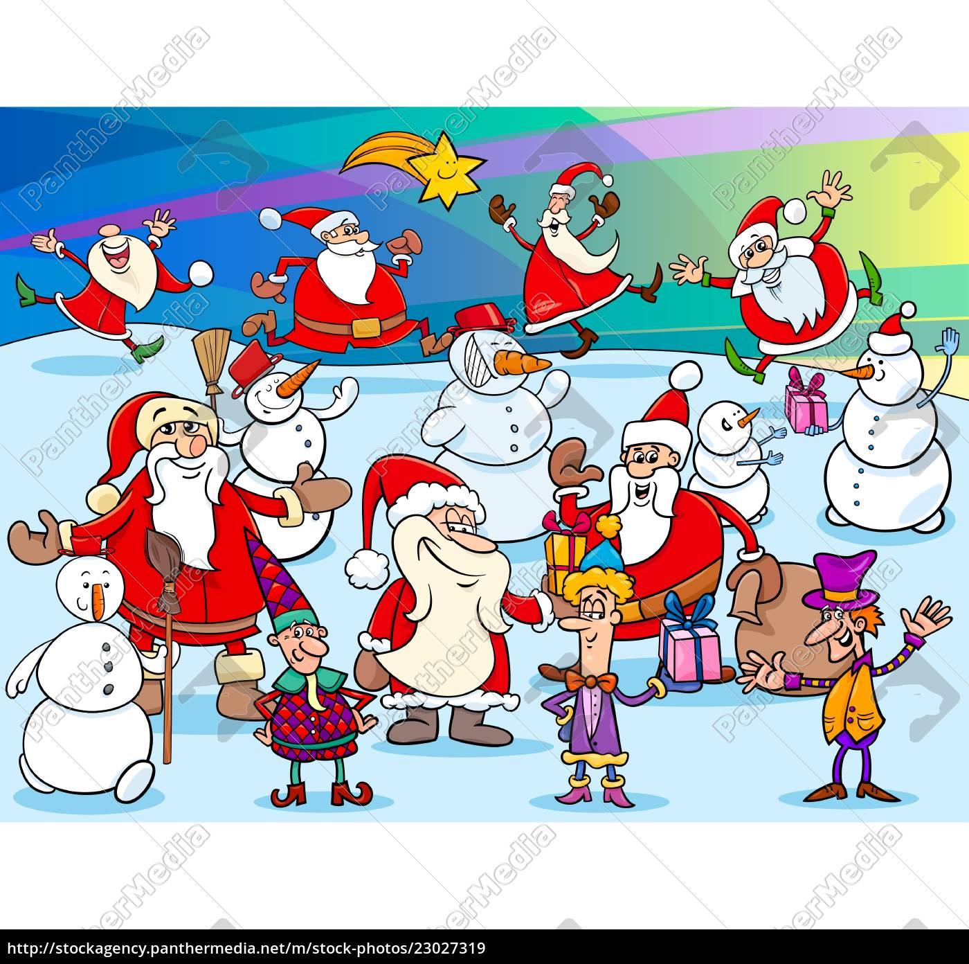 Vector Libre De Derechos 23027319 Grupo De Personajes De Dibujos Animados Navideños