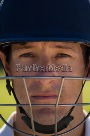 close up portrait of cricket player
