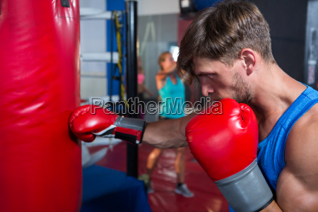 side view of young male boxer