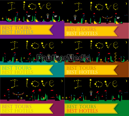 travel cards artistic font summer night