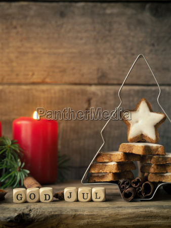 christmas background with star shaped cookies