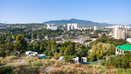 panorama of alushta city in sunny