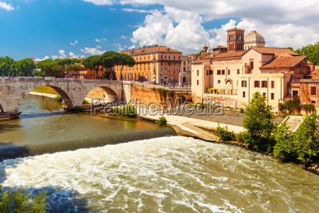 tiber island in sunny day rome
