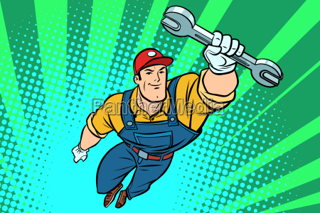 male repairman with a wrench flying
