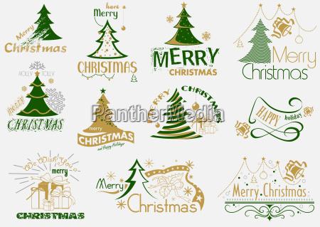 merry christmas typography set