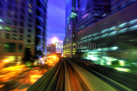 high speed train in city