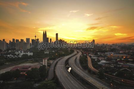 kuala lumpur city sunset view