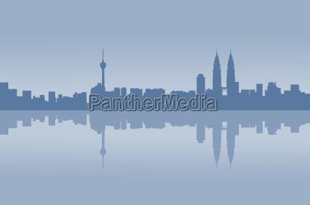 kuala lumpur city graphic reflection
