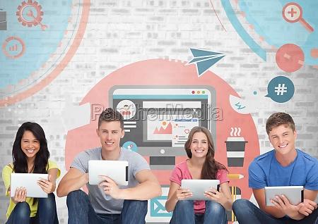 grupo de personas en tabletas frente
