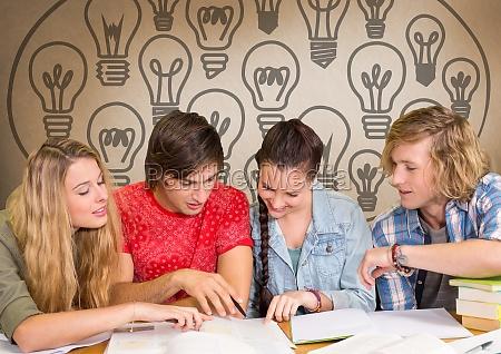 grupo de estudiantes que estudian frente