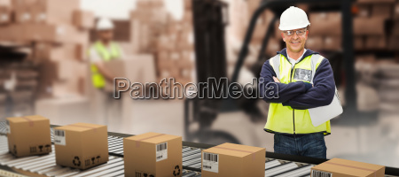 composite image of worker wearing hard