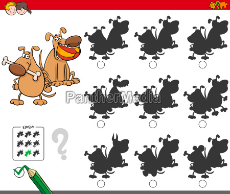 educational shadow game with dog characters