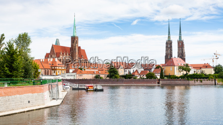 panorama with churches and ostrow tumski