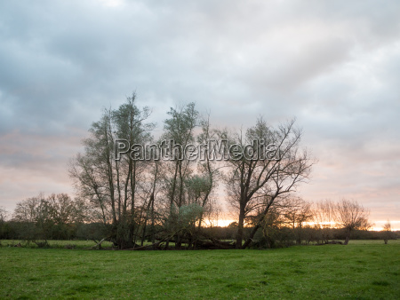 beautiful sunset over empty country landscape
