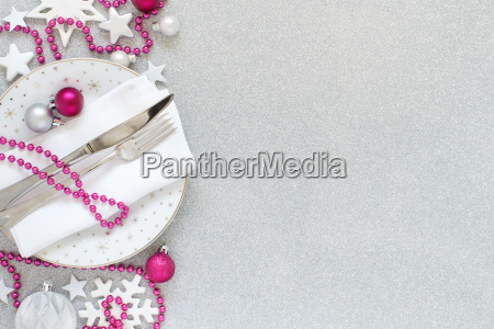 white silver and pink christmas table